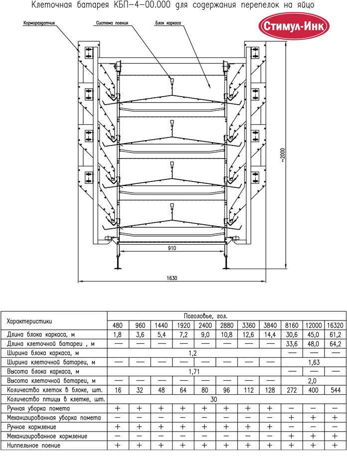 Схема клетки для перепелов